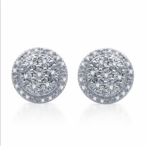 Genuine Diamond Stud Earrings in Sterling Silver